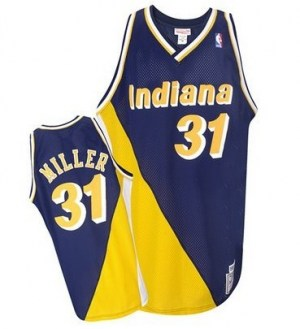 Men s Reggie Miller Indiana Pacers Mitchell and Ness Authentic Gold Navy   Throwback Jersey f11724ffa