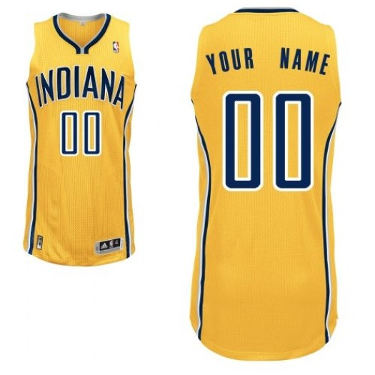 Men's Custom Indiana Pacers Adidas Authentic Gold ized Alternate Jersey