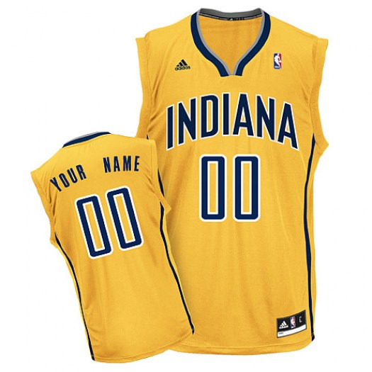 Men's Custom Indiana Pacers Adidas Swingman Gold ized Alternate Jersey