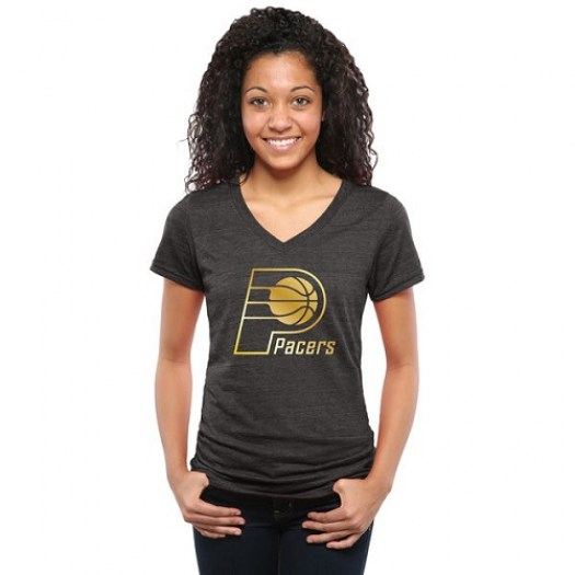 Women's Indiana Pacers Gold Collection V-Neck Tri-Blend T-Shirt - Black