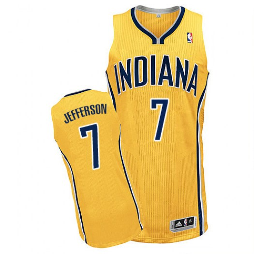Men's Al Jefferson Indiana Pacers Adidas Authentic Gold Alternate Jersey