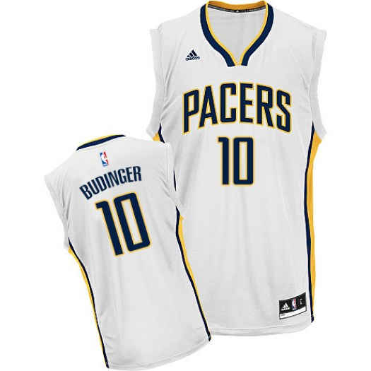 Men's Chase Budinger Indiana Pacers Adidas Swingman White Home Jersey