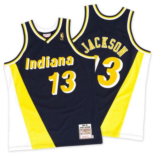Men's Mark Jackson Indiana Pacers Mitchell and Ness Authentic Gold Navy/ Throwback Jersey