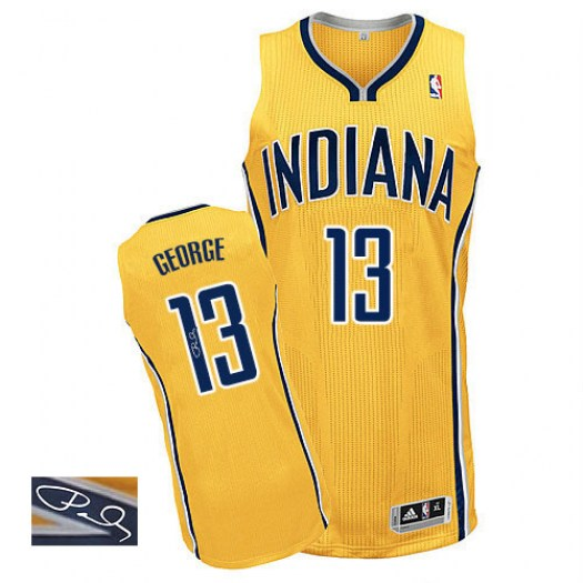 Men's Paul George Indiana Pacers Adidas Authentic Gold Alternate Autographed Jersey
