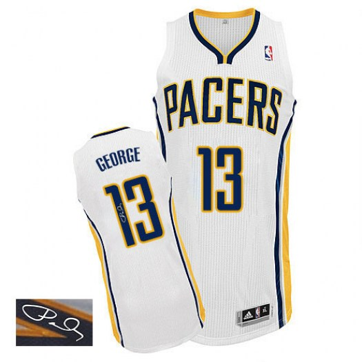 Men's Paul George Indiana Pacers Adidas Authentic White Home Autographed Jersey