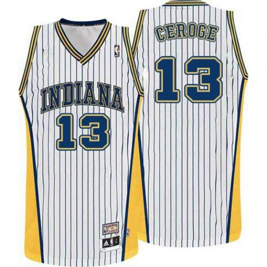 49b220cf0c6 Men s Paul George Indiana Pacers Adidas Authentic White Throwback Jersey