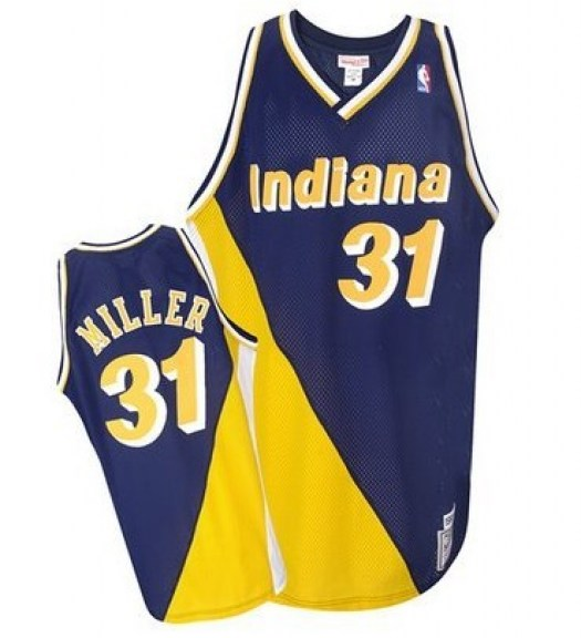 Men's Reggie Miller Indiana Pacers Mitchell and Ness Authentic Gold Navy/ Throwback Jersey