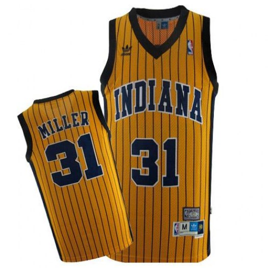 Men's Reggie Miller Indiana Pacers Mitchell and Ness Swingman Gold Throwback Jersey