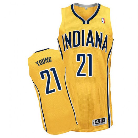 Men's Thaddeus Young Indiana Pacers Adidas Authentic Gold Alternate Jersey