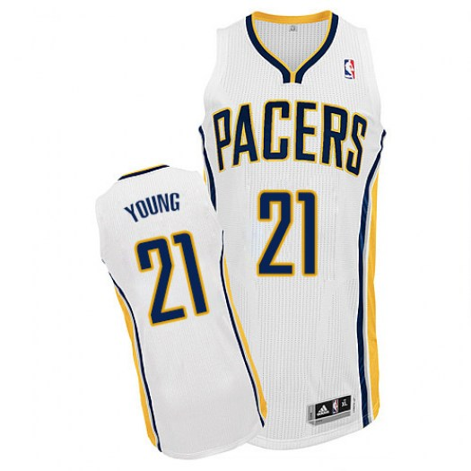 Men's Thaddeus Young Indiana Pacers Adidas Authentic White Home Jersey