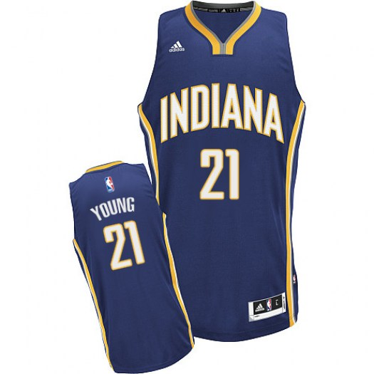 Men's Thaddeus Young Indiana Pacers Adidas Swingman Navy Blue Road Jersey